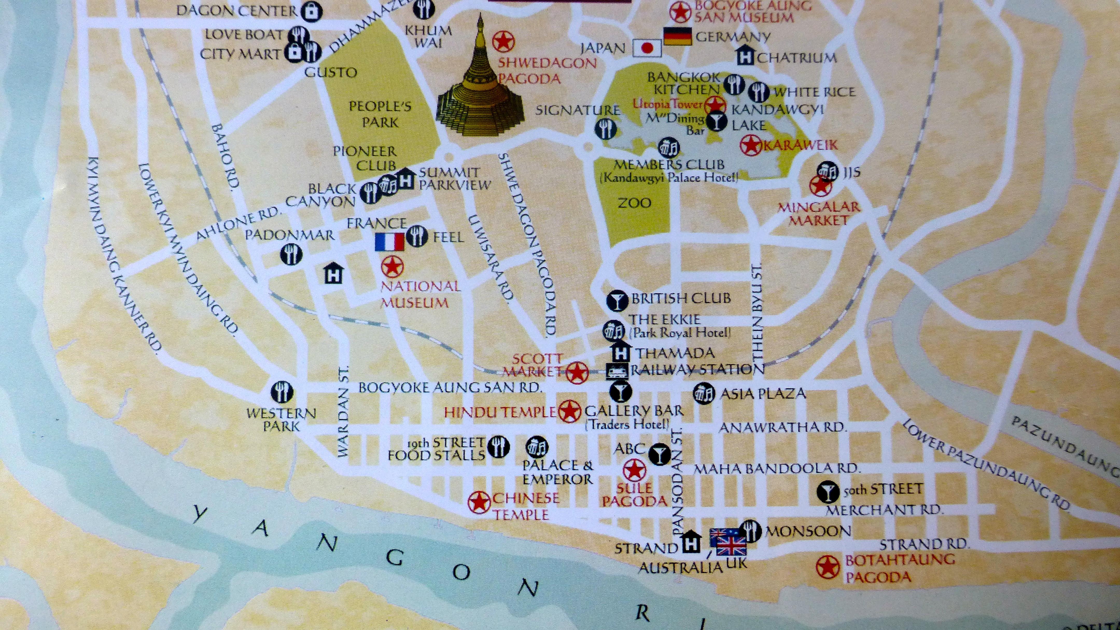 City map, Yangon ...