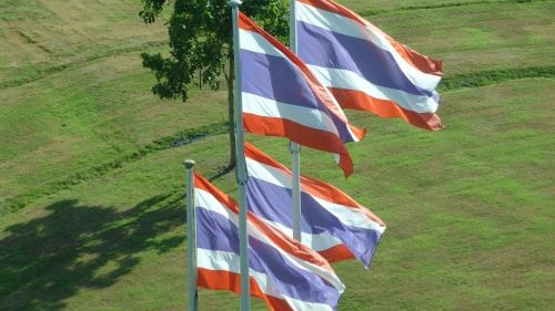 Thai flags fly bravely in the breeze.