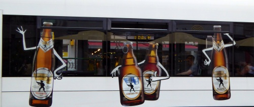 Advertising the local brew on a tram!