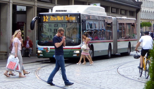 "Tram and bus drivers need to be very aware of people in this ""pedestrian zone""!!"