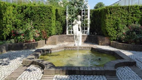 A formal side garden.
