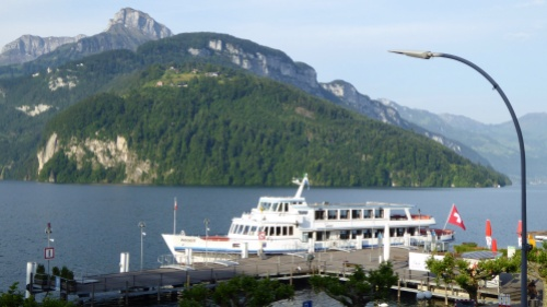 The 'Weggis' at Brunnen Pier preparing for the day's first passengers.