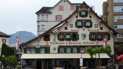 One of the lovely hotels in Brunnen.