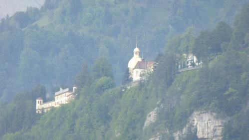 A hillside monastery.