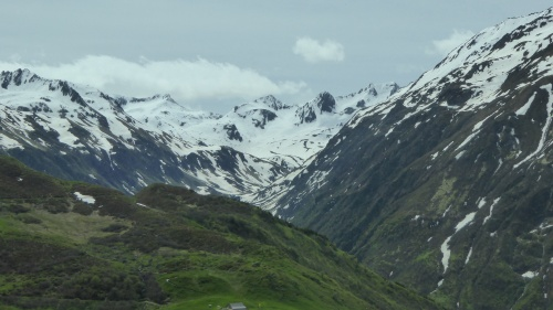Mountain scenery on Oberalp Pass.