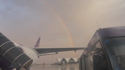 A rainbow to welcome us to Thailand.