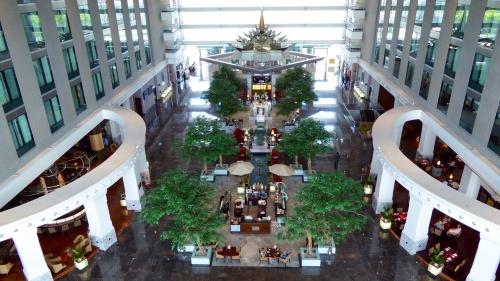 Hotel foyer and restaurants.