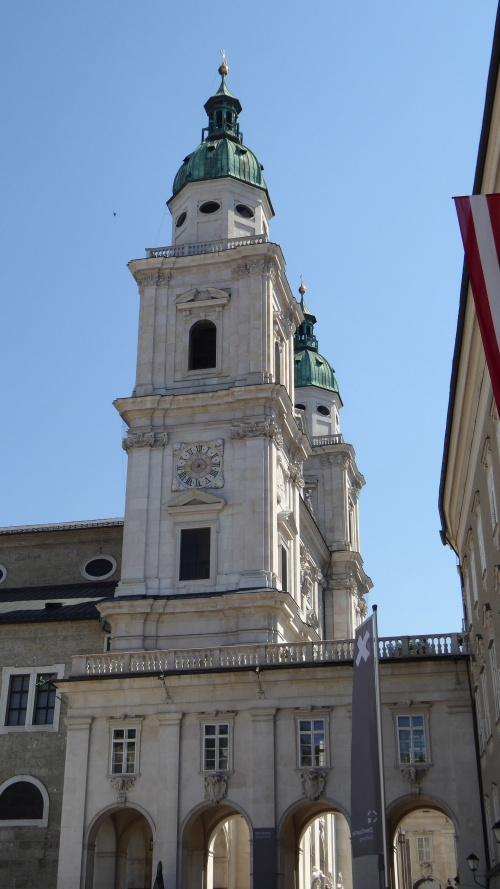 The imposing towers of Salzburg Cathedral, the Dom.