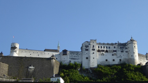 The Hohensalsburg Fortress high on a rocky crag above the city.