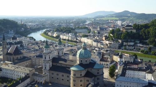 The view from the Fortress down across the old city of Salzburg.
