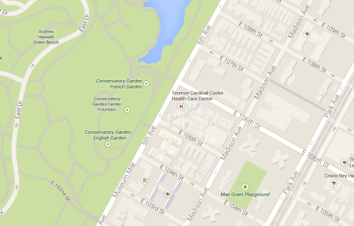 Google Map of Conservatory Garden, NY